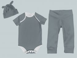 Everyday Set with Onesie, Joggers and Knotted Hat - Dark Gray