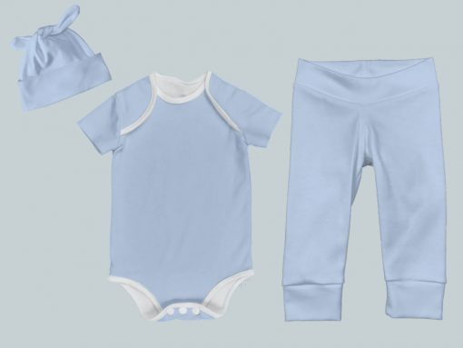 Everyday Set with Onesie, Joggers and Knotted Hat - Blue