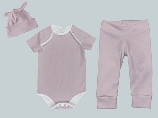Everyday Set with Onesie, Joggers and Knotted Hat - Bright Pink