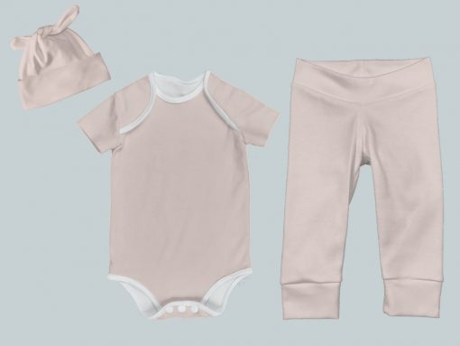 Everyday Set with Onesie, Joggers and Knotted Hat - Pink