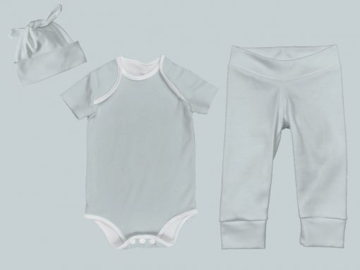 Everyday Set with Onesie, Joggers and Knotted Hat - Light Blue