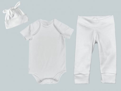 Everyday Set with Onesie, Joggers and Knotted Hat - White