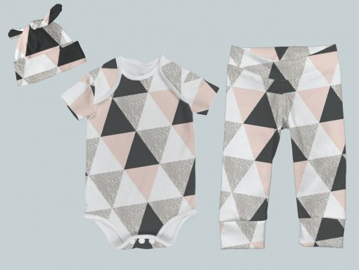Everyday Set with Onesie, Joggers and Knotted Hat - Geo Check Pink
