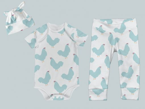 Everyday Set with Onesie, Joggers and Knotted Hat - Chicken Chick