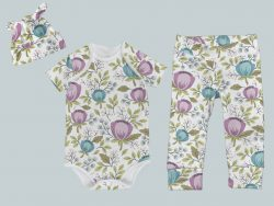 Everyday Set with Onesie, Joggers and Knotted Hat - Floral Teal Purple