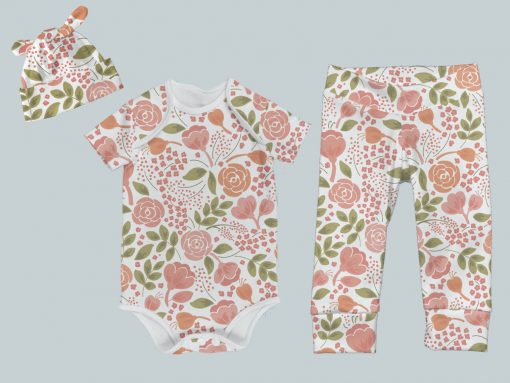 Everyday Set with Onesie, Joggers and Knotted Hat - Coral Flowers