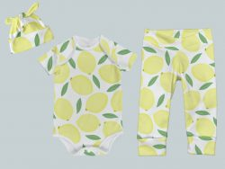 Everyday Set with Onesie, Joggers and Knotted Hat - Lively Lemons