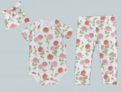 Everyday Set with Onesie, Joggers and Knotted Hat - Bright Blooms