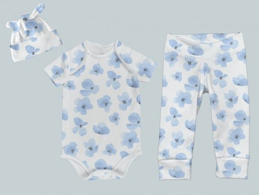 Everyday Set with Onesie, Joggers and Knotted Hat - Blue Violet