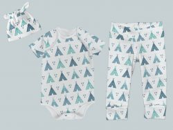 Everyday Set with Onesie, Joggers and Knotted Hat - Teal Teepee