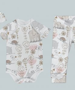 Everyday Set with Onesie, Joggers and Knotted Hat - Animal Fun