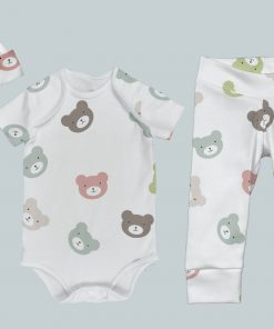 Everyday Set with Onesie, Joggers and Knotted Hat - All Over Bears