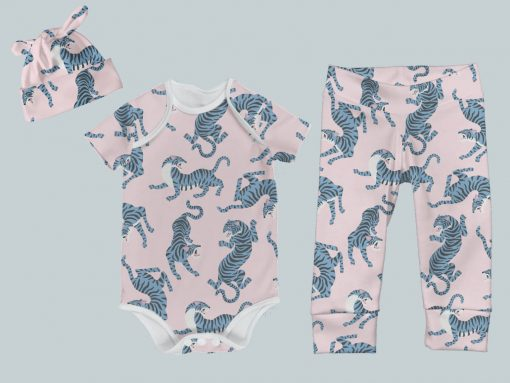 Everyday Set with Onesie, Joggers and Knotted Hat - Blue & Pink Tigers
