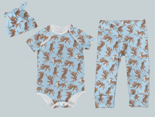Everyday Set with Onesie, Joggers and Knotted Hat - Blue & Yellow Tigers
